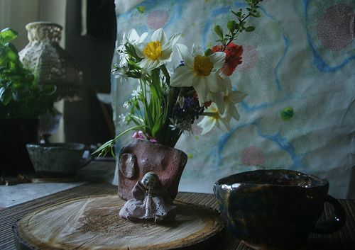 ceramics...doll...flowers...