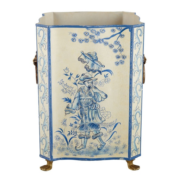 Love this blue and white tole painted wastebasket