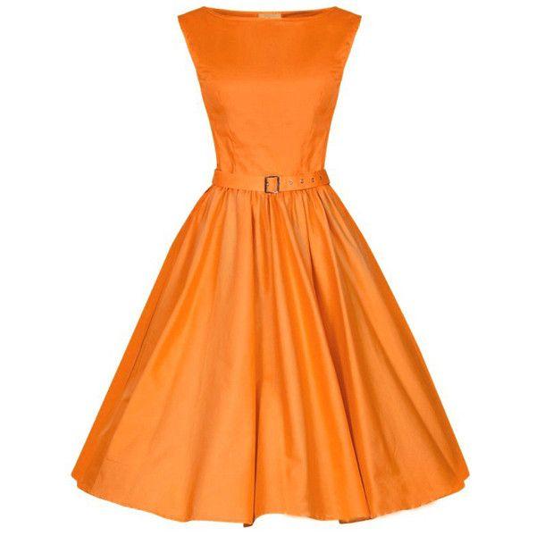 Choies Orange Vintage Sleeveless Midi Dress ($26) ❤ liked on Polyvore featuring dresses, orange, vintage, orange sleeveless dress, vintage orange dress, no sleeve dress, mid calf dresses and calf length dresses