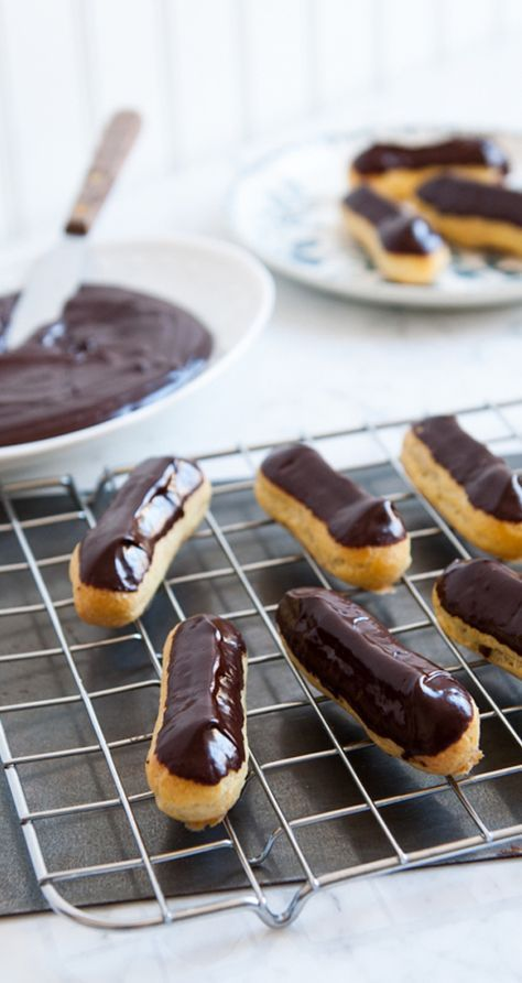 Chocolate Éclairs with Chocolate Cream Filling. Adapted from Nigella Lawson…