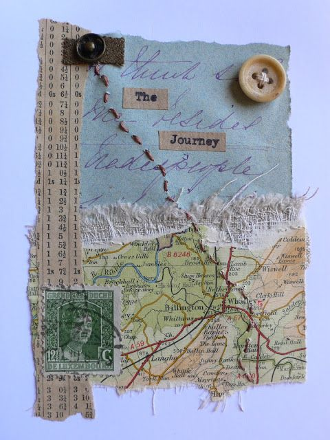 collage, mix media using objects from holidays, trapping in wax, sew into                                                                                                                                            More