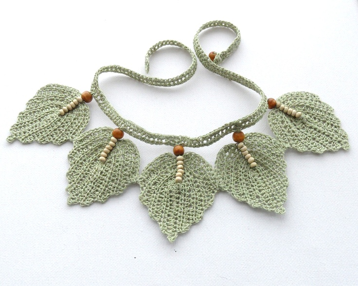 Crochet Necklace - Natural Linen Necklace Choker Leaves. $24.00, via Etsy.