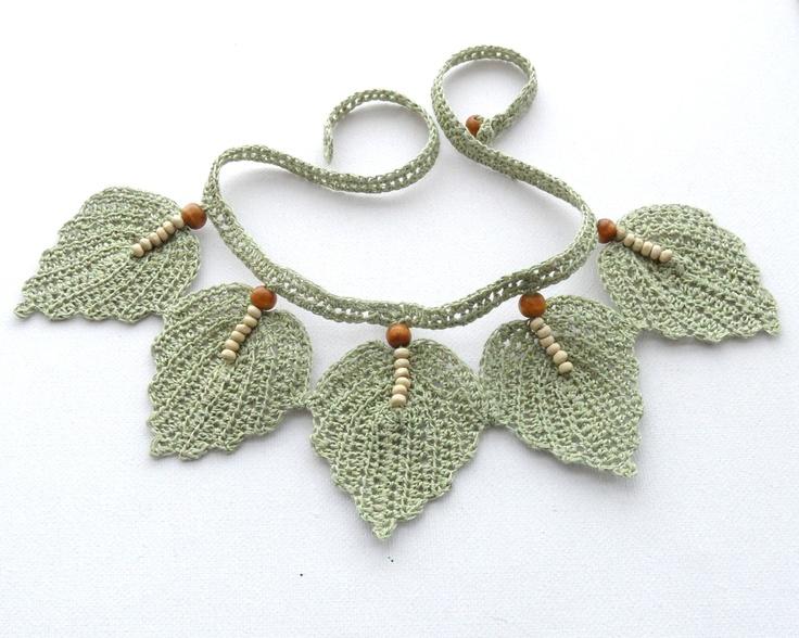 Crochet Necklace - Natural Linen Necklace Choker Leaves. $24.00, via Etsy.