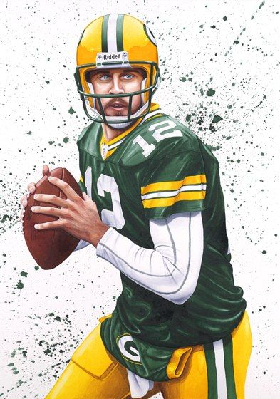 green bay packers arron rogers by moises biton watercolor