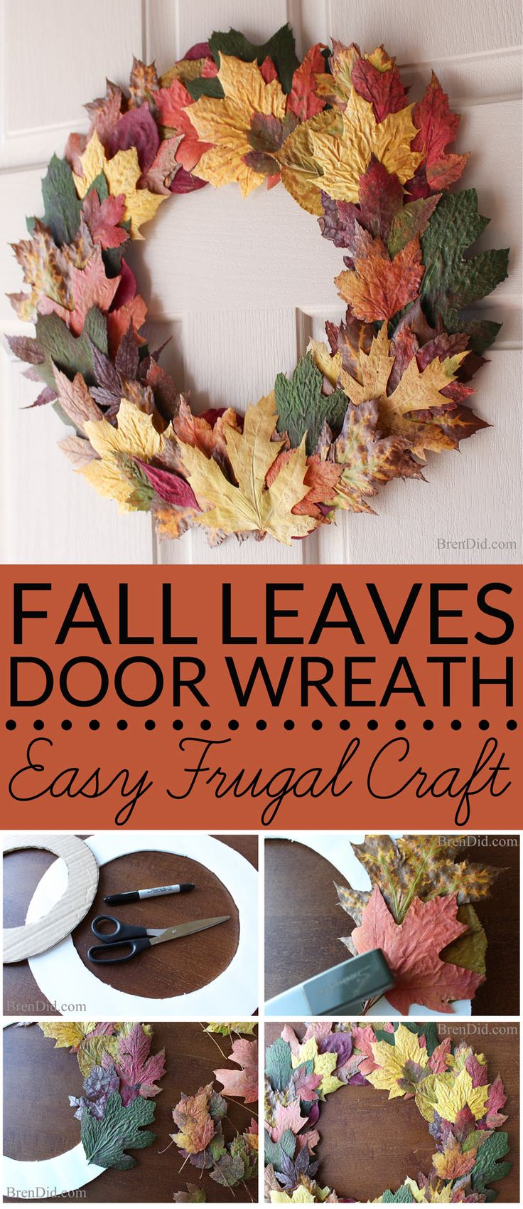 Can you believe this beautiful fall wreath is made from just leaves, cardboard…