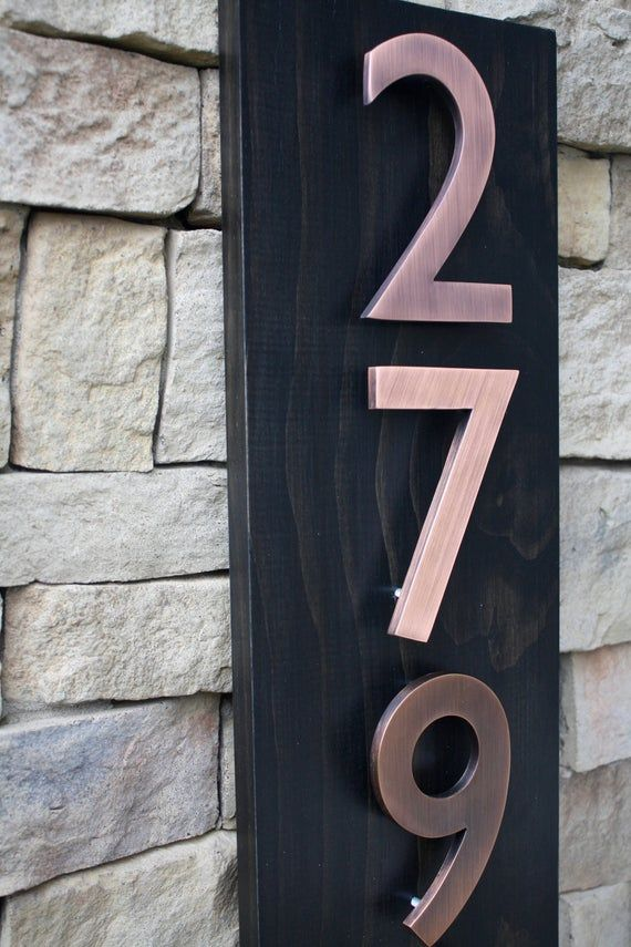 Address Plaque Modern House Numbers House Number Plaque Etsy House Numbers Modern House Number Copper House
