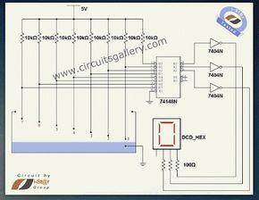 Numeric water level indicator liquid level sensor circuit diagram with 7 segment display Engineering project