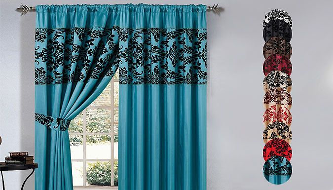 """Pencil Pleat Curtains - 2 Sizes and 10 Colours Adorn your home with Pencil Pleat Curtains boasting pretty floral details      Available in two sizes: 66"""" x 72"""" or 90"""" x 90""""      Supplied in a variety of colours including red, black and blue      Delivered with 2 x matching tie backs      Material: 100% Polyester with Micro Fibre Flocking (fully lined half flocked)      Machine Washable at 40..."""