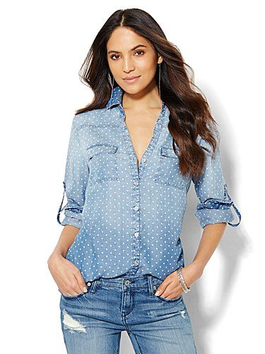 Shop Soho Soft Shirt - Polka-Dot Chambray - Acid Wash. Find your perfect size online at the best price at New York & Company.