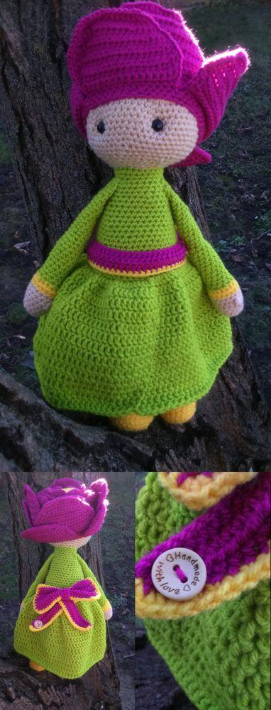 Peony Pam flower doll made by Renata O - crochet pattern by Zabbez