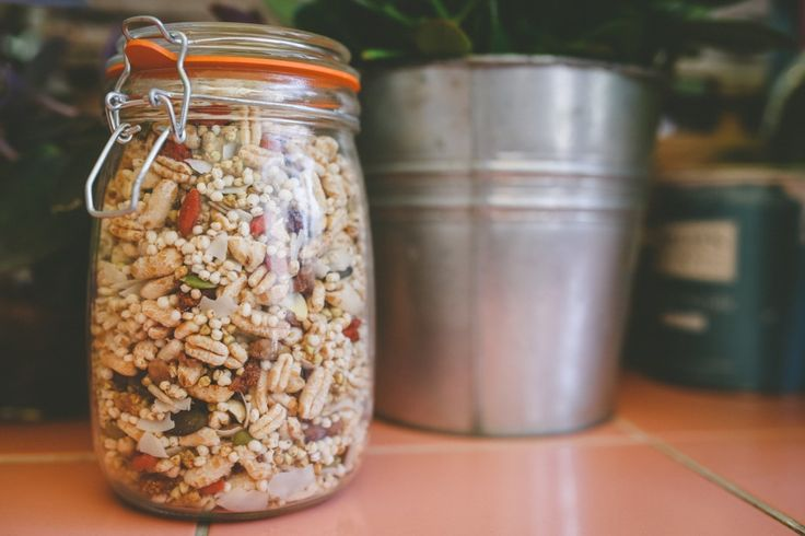Homemade cereal (this one with puffed quinoa, seeds, white mulberries, goji berries, etc) in the Whole Foods Gift Guide, via healthy vegetarian blog, Three Seedlings  http://threeseedlings.com/whole-foods-gift-guide/