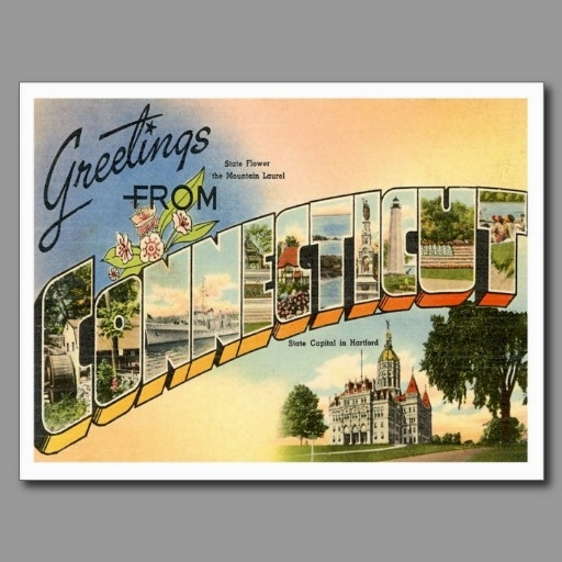"""Greetings from CONNECTICUT CT Post Cards.  Our 50+ set of vintage """"Greetings From"""" postcards are wonderful to see."""