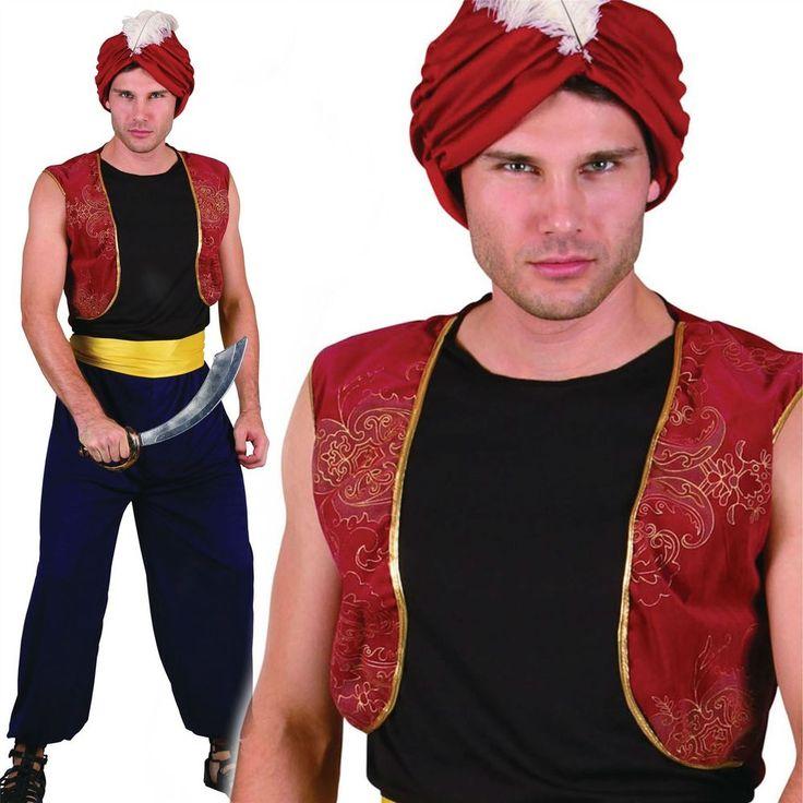 MENS ARABIAN NIGHTS BANDIT GENIE ALADDIN PANTO FANCY DRESS COSTUME & TURBAN HAT #BristolNovelty