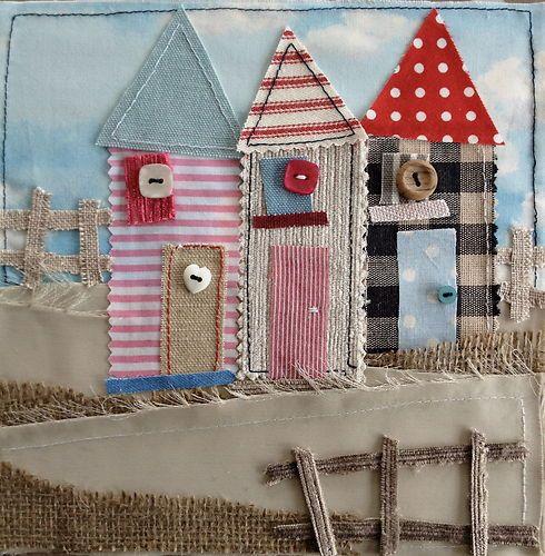 Original Framed Fabric Picture. Beach Hut