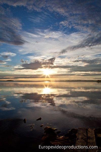 Coucher de soleil à Ranua en Laponie en Finlande