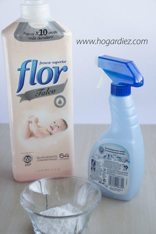 Truco casero para que tu hogar huela siempre bien. - Un envase con atomizador.  - 750 ml de agua caliente (aprox. 3 tazas)  - 30 ml de suavizante (aprox. 3 cucharadas)  - 10 gr de bicarbonato sódico (1 cucharada)