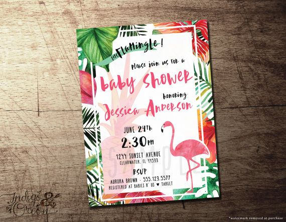 tropical baby shower invitation flamingo theme  pineapple