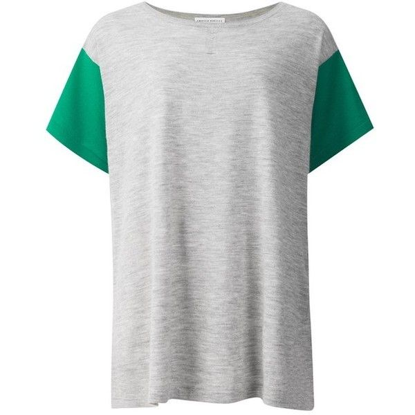 Amanda Wakeley Delevingne Colour Block Cashmere Tee ($95) ❤ liked on Polyvore featuring tops, t-shirts, green, short-sleeve, block t shirt, short sleeve tops, color block t shirt, colorblock top and green tee
