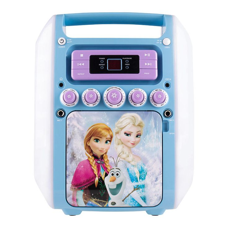 """The Frozen Fantastical Karaoke Machine is just what your child needs to sing along with Anna, Elsa and all her favorite friends in Arendelle! With memorable songs like """"Let it Go"""" and """"Do You Want to Build a Snowman?"""", your child will have hours of entertainment singing to their favorite songs while enjoying amplified sound and colorful, flashing lights!<br><br>The Disney Frozen Illuminating Karaoke Machine Features:<br><ul><li>Color flashing LED lights to illuminate any party…"""