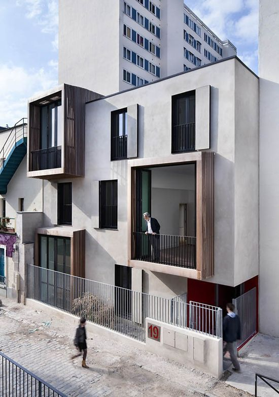 lovely protruding exterior grids -Tetris, social housing and artist studios / Moussafir | http://architecturephotocollections.blogspot.com