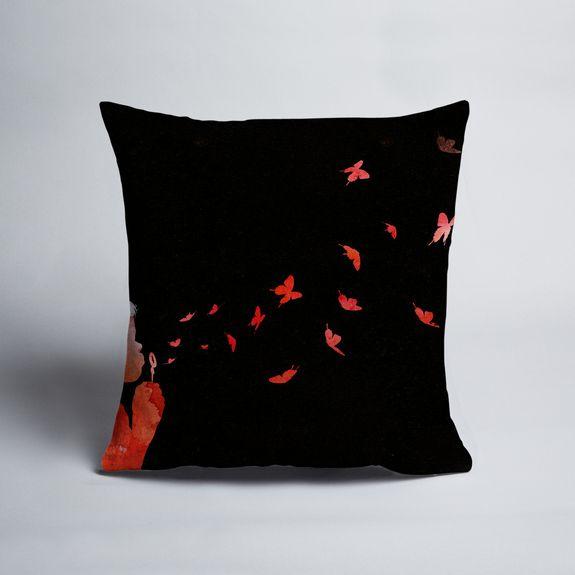 Robert Farkas - Blowing Butterflies - Cushion cover