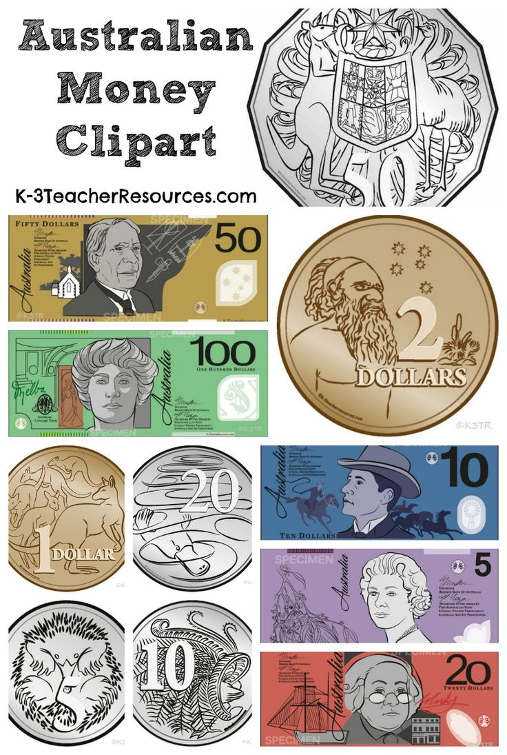 Australian Money Clipart Images - available in colour and black and white.....   http://www.k-3teacherresources.com/australian-money-clipart.html