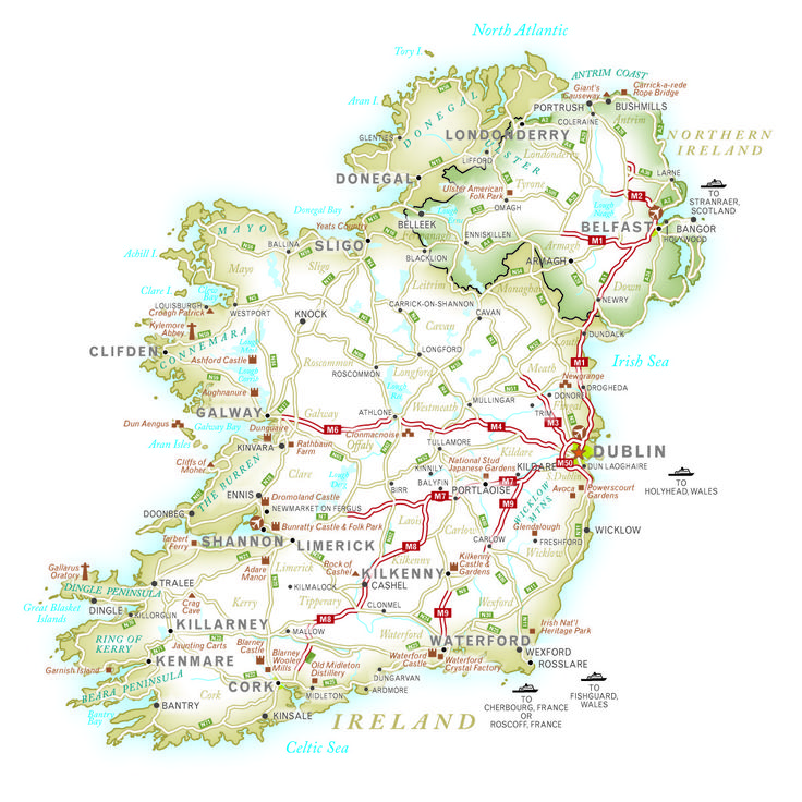 Map Of Ireland For Driving.Ireland Vacation Map