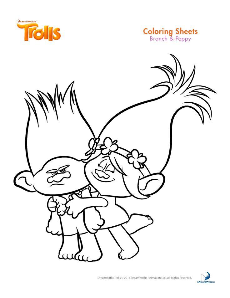 BRANCH Y POPPY TROLLS PARA COLOREAR Dibujos para