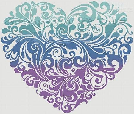 Purple Blue Green Heart cross stitch pattern.