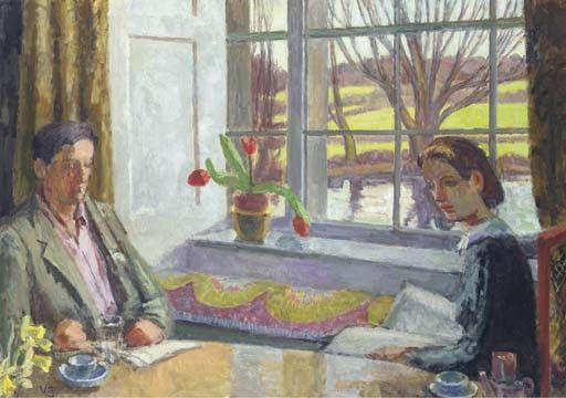 Vanessa Bell: The Dining Room Window, 1937. This is a painting of Duncan Grant and Angelica Bell at Charleston. Shortly before this painting was done, Vanessa Bell had revealed to her daughter, Angelica, that Duncan Grant was her father. Up till then, Angelica had believed her father was art critic and writer Clive Bell.