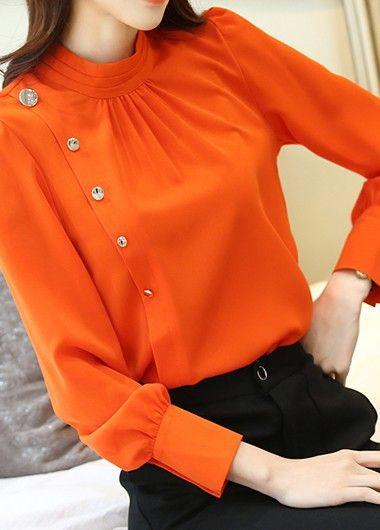 Button Embellished Long Sleeve Orange Blouse.