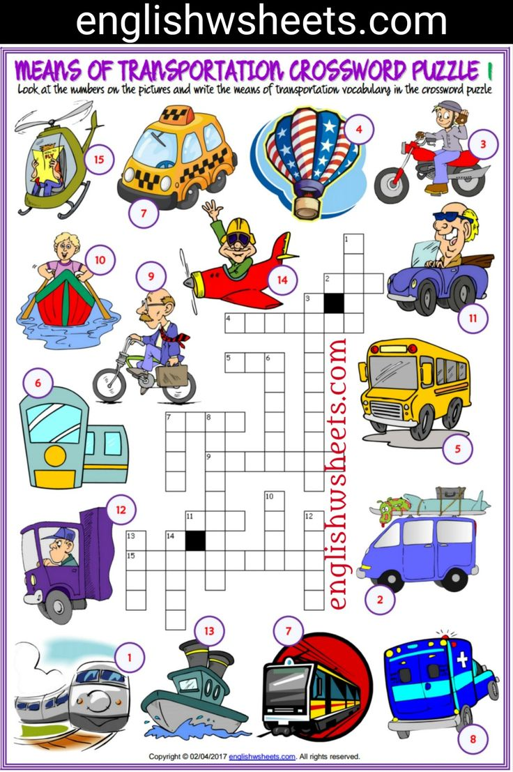 Means of Transportation Esl Printable Crossword Puzzle Worksheets For Kids #means #Transportation #transports #Esl #Printable #Crossword #Puzzle #Worksheets #language #arts #languagearts