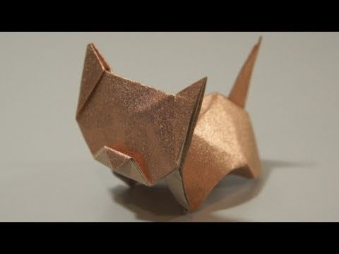 Origami Neko (cat) by Jo Nakashima (very cute and easy to follow video tutorial) Note: use foil paper for better results (if using plain paper you may not want to shape the back).