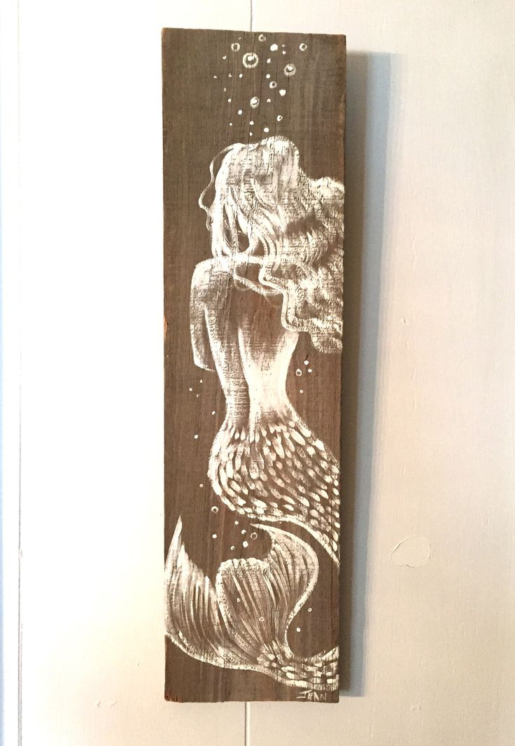 Reclaimed Florida Wood Amazing Hand Painted Mermaid On Distressed Board  Hand Crafted