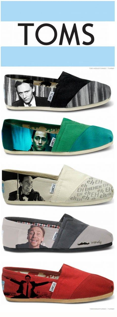 Loki!! I LOVE HIM <3 So Cute, this 44 yr old mom plans on getting a pair may give me cool mom points with my 10 yr old!   Tom Toms. I want these. HAHAHA