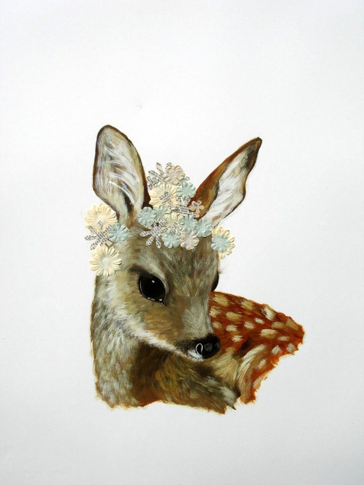 Flower Fawn (2010) - mixed media on paper - 30 x 21 in.