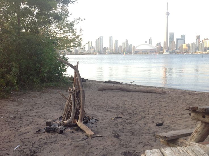 Ready for campfire at the Russian Beach on Toronto Islands.