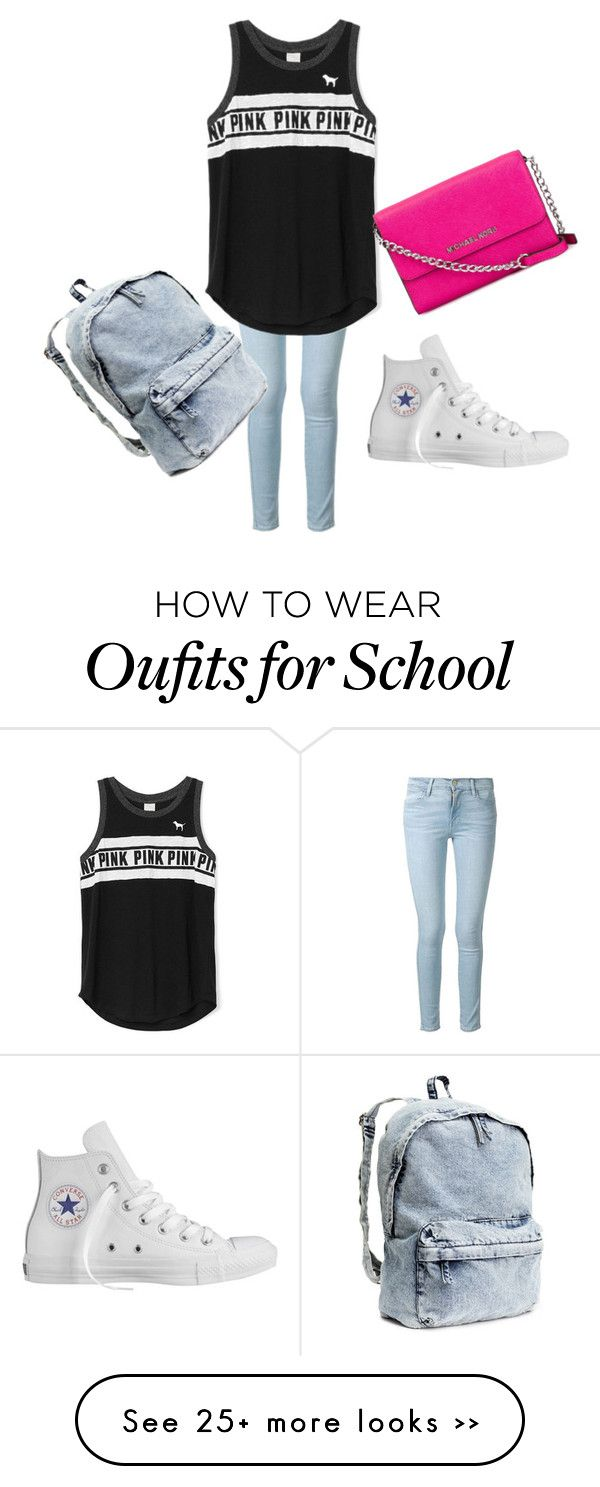 """School"" by mlg2003a on Polyvore featuring Frame Denim, Converse and MICHAEL Michael Kors"