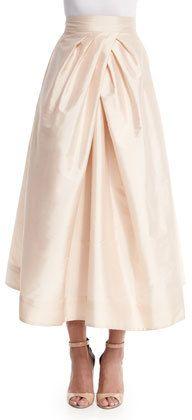 Monique Lhuillier Bridesmaids Tea-Length Taffeta Skirt