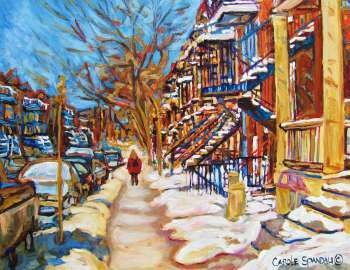 Montreal Street Girl With Red Jacket! By Carole Spandau