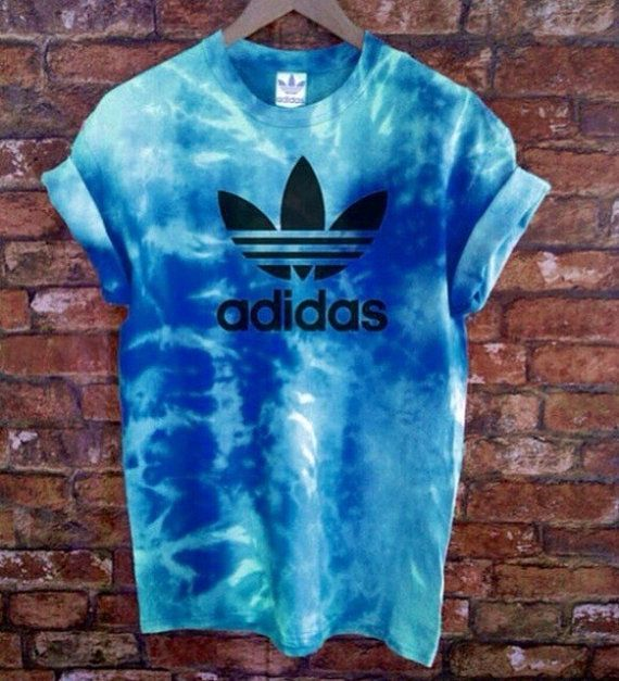 Unisex Authentic Adidas Originals Tie Dye Sea Blue Tie Dye T-shirt