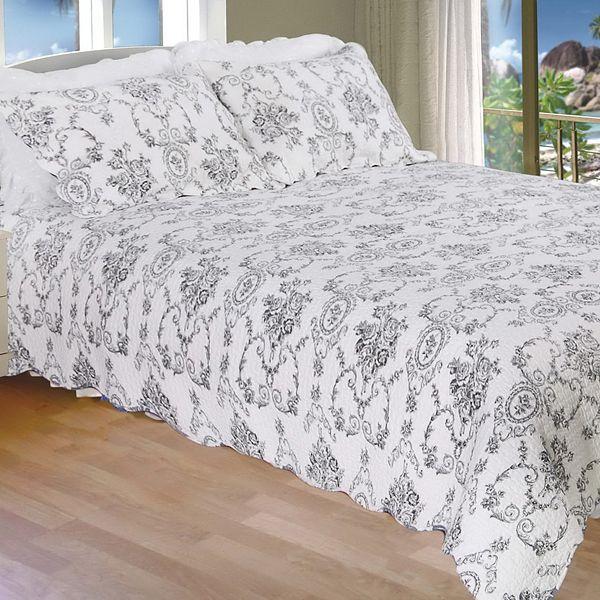 serene night black floral quilt set