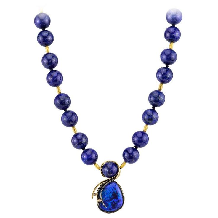 Lightning Ridge Opal Lapis Gold Drop Necklace 1 |Fashionista-Princess-Jewelry.tumblr.com |@fashionistaprincessjewelry