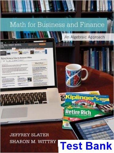 The 25 best business mathematics book ideas on pinterest math for business and finance an algebraic approach 1st edition slater test bank test bank fandeluxe Images