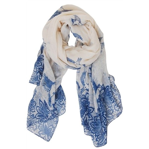 Humble Chic NY Blue Bird Floral Scarf ($38) ❤ liked on Polyvore featuring accessories, scarves, blue, sheer scarves, sheer shawl, floral scarves, floral print scarves and bird scarves
