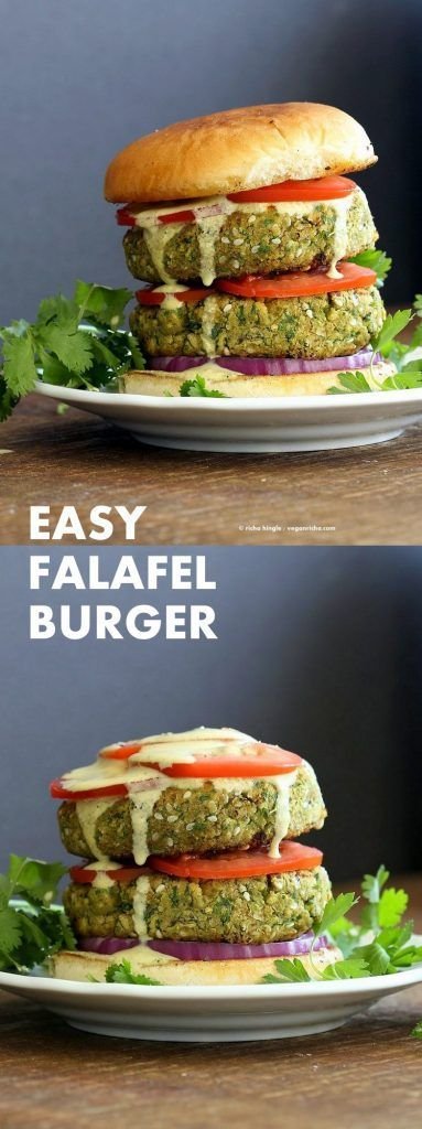 Easy Vegan Falafel Burger. Chickpea patties with 5 minute tahini dressing, tomatoes, onions, pickles make for a filling and flavorful burger.