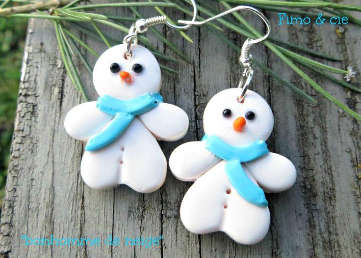 """Boucles d'oreilles de Noël """"bonhomme de neige"""" !! : Boucles d'oreille par sylvieb63"""