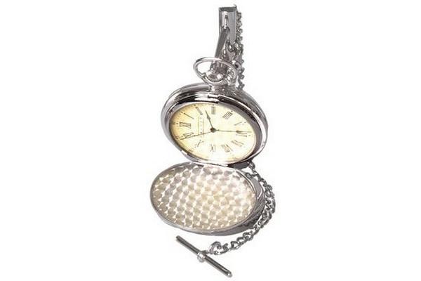 Orologio Full Hunter Dalvey da tasca, con supporto in acciaio inossidabile. Quadrante colore crema. Movimento al quarzo di qualità.
