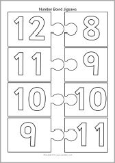 Number bonds to 20 jigsaw pieces - black and white (SB10440) - SparkleBox