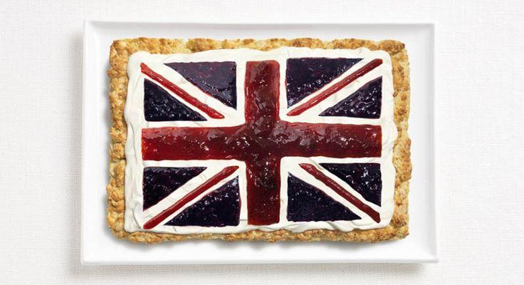 Bandeira do Reino Unido: massa de bolo, creme e geléia